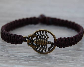 Scorpio Bracelet,Scorpio Jewelry,Mens String Bracelet,Scorpio Zodiac Jewelry,Mens Bracelet,Good Luck Bracelet,Gift for Him