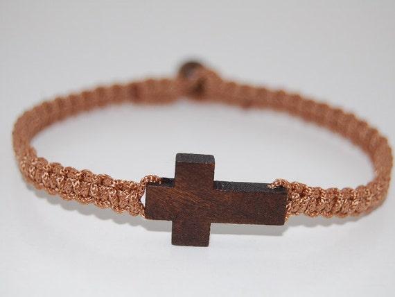 Macrame Bracelet Black with Brown Wooden Cross Charm Friendship Bracelet Macrame Bracelet Black with Brown Wooden Cross Charm Friendship