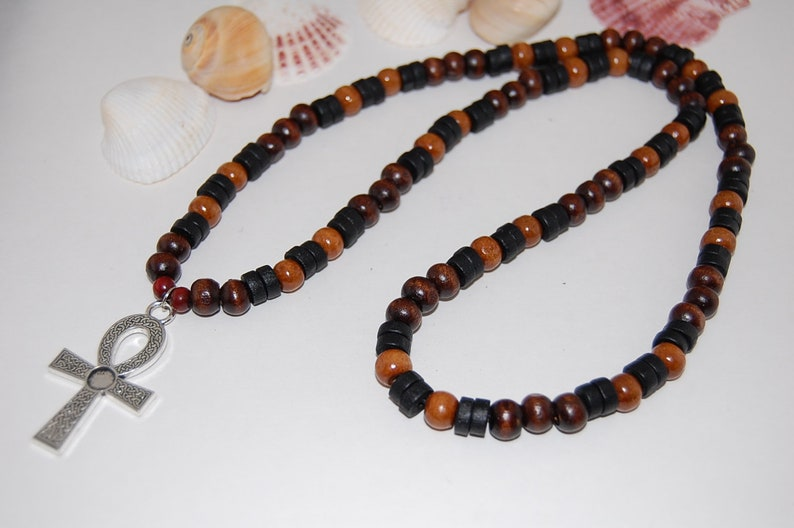 Ankh Cross Necklace,Wood Beads,Ankh Cross,Key of the Nile,Key of Life,Crux Ansata,Man,Mens,Egyptian Cross,Egyptian God Goddess,Wood Necklace