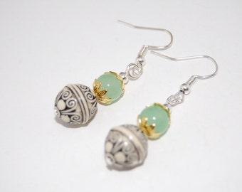 Jade Beads,Lucky Balls Earrings, Beaded Earrings,Drop Earrings ,Dangle Earings ,Woman,Girl,Boho Jewelry ,Gift For Her