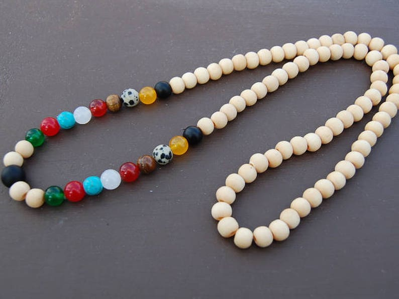 60s -70s Jewelry – Necklaces, Earrings, Rings, Bracelets Chakra Necklace8mm Gemstone and Wood BeadsMala NecklaceYoga NecklaceSpiritual GiftWood NecklaceManWomanProtectionMeditation $29.99 AT vintagedancer.com