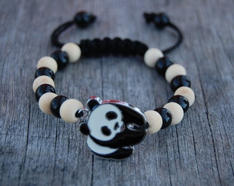 Panda Bracelet,Wildlife Wood Beads Bracelet,Good Luck Bracelet,Man,Woman,Yoga Bracelet,Protection,Meditation,Shamballa Bracelet,Surfer