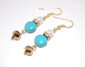 Turquoise Earrings, Beaded Earrings,Drop Earrings ,Dangle Earings ,Boho Jewelry ,Gift For Her