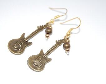 Guitar Earrings,Rock,Music Earrings, Bronze Beaded Earrings,Drop Earrings ,Dangle Earings ,Boho Jewelry ,Gift For Her
