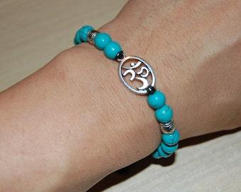 Om Bracelet,Turquoise Gemstone Beads,Pretty Bracelet,Drawstring,Shamballa Bracelet,Man,Woman,Prayer,Good Luck ,Yoga,Protection,Meditation