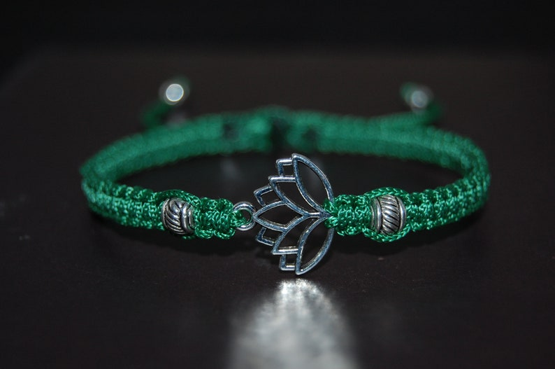 Lotus Bracelet,Hemp,Good Luck String Bracelet,Adjustable Drawstring,Pray,Men,Women,Yoga Bracelet,Mala,Protection,Meditation,Gift