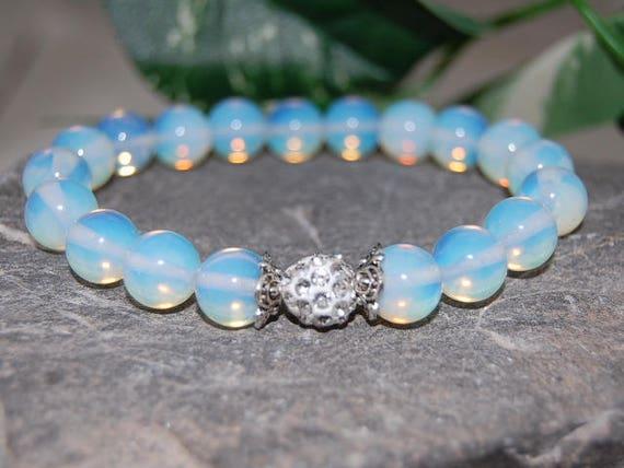 set of 3 Moonstone//Opalite 10mm//8mm//6mm Beads Shamballa bracelet