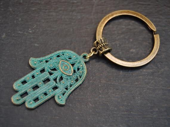 Hamsa Hand Keychainevil Eye Keychainbronze Hamsa Etsy