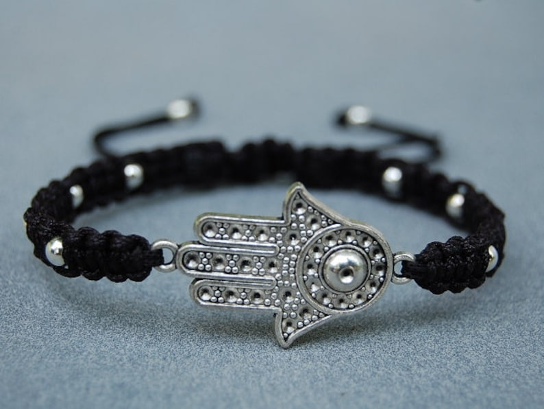 Hamsa Black Leather Bracelet Evil Eye Kabbalah Silver Hand Fatima Friendship