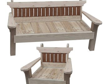 Garden chair and bench combo - woodworking plans
