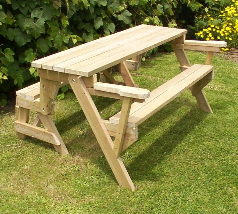 1 Piece Folding Picnic Table Woodworking Plans Etsy