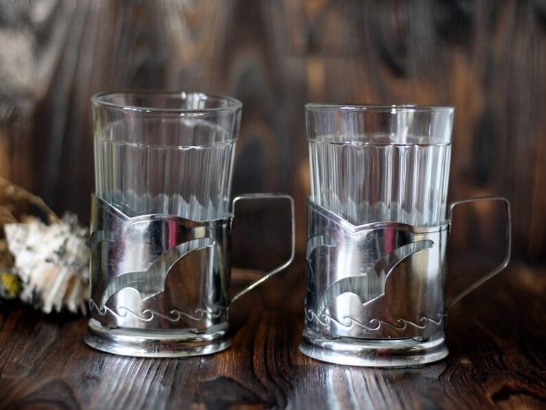 Vintage Russian Soviet Space Theme Tea Glass Holder Russia Big Clearance Sale Russian & Soviet Program