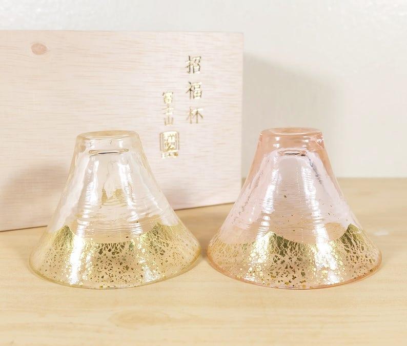 0843f0dcae0d Mountain Fuji Sake cups by Toyo Sasaki Glass G636-T73 Pink