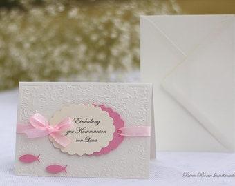 12 personalisierte Einladungskarten Taufeinladung Einladung zur Taufe Einsegnung Kommunion Konfirmation Firmung Kreuz Schmetterling weiss Handarbeit binnbonn