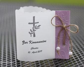 10 Personalized Light Envelopes Windlights for Table Light Table Decoration Baptism Communion Confirmation Heart Shape Cross Lilac Handmade binnbonn