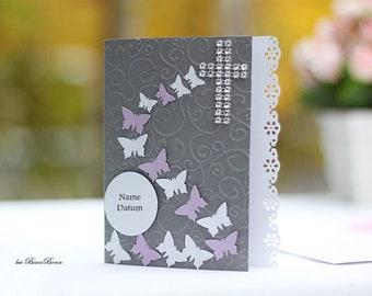 10 Personalized Invitation Cards Baptism Invitation to Baptism Communion Confirmation Confirmation Firming Butterflies Handmade binnbonn
