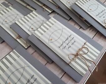 10 Personalized Invitation Cards Invitation to Communion Confirmation Confirmation Baptism Fish Stripe Grey Boy Girl Handmade binnbonn
