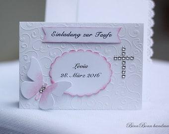 10 Personalized Invitation Cards Baptism Invitation to Baptism Blessing Communion Confirmation Confirmation Cross Handmade binnbonn