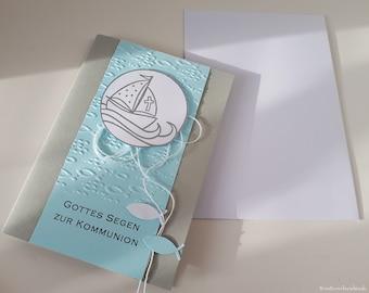 10 Personalized Invitation Cards Invitation to Communion Confirmation Confirmation Baptism Christening Invitation Boat Fish Turquoise Handmade binnbonn