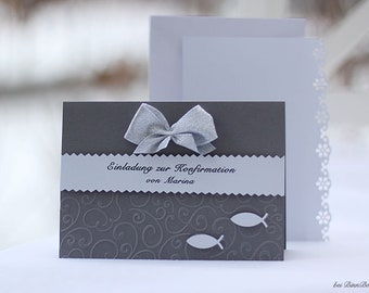 8 Personalized Invitation Cards Invitation to Baptism Blessing Communion Confirmation Confirmation Confirmation Fish Grey White Handmade binnbonn