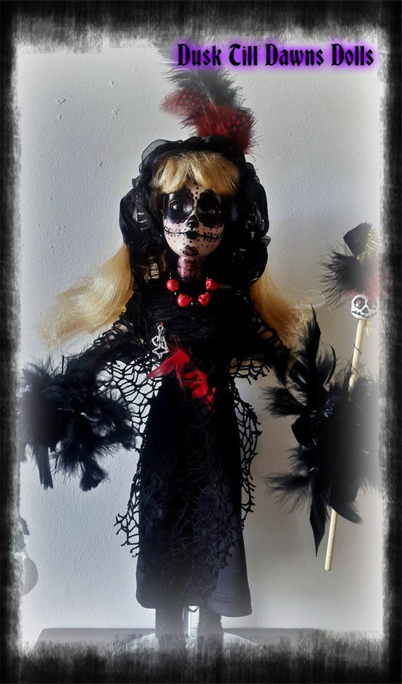 Voodoo queen, high priestess, artist made porcelain doll, gothic doll,  horror doll, OOAK doll, collectors doll, halloween doll