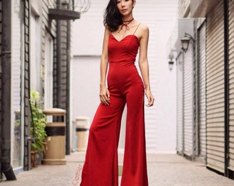 60de3a31887 Women s Summer Red Jumpsuit Spaghetti Strap V Neck High Waist Slinky Side  Split Wide Legs  70s vintage fashion Cocktail night out dress.