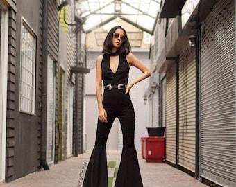 d67f4fc8be34 Women s Luxurious Black Jumpsuit Deep V- neck High waist super flared bell  bottom vintage 70s style Funky Disco Jumpsuit.