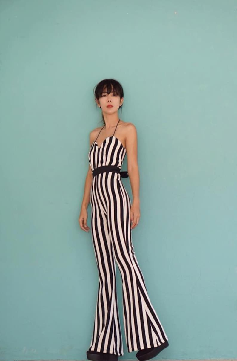 72590b0809e Women s Summer Black and White Jumpsuit Striped Spaghetti