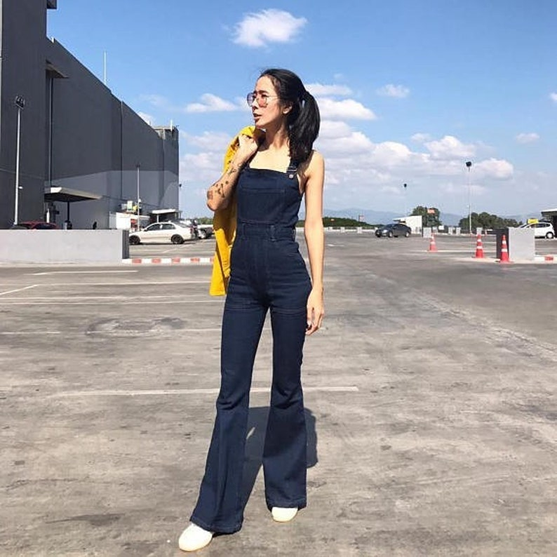 d366e0d44c24 Women s Jeans Denim Jumpsuit Overall High waisted Bell