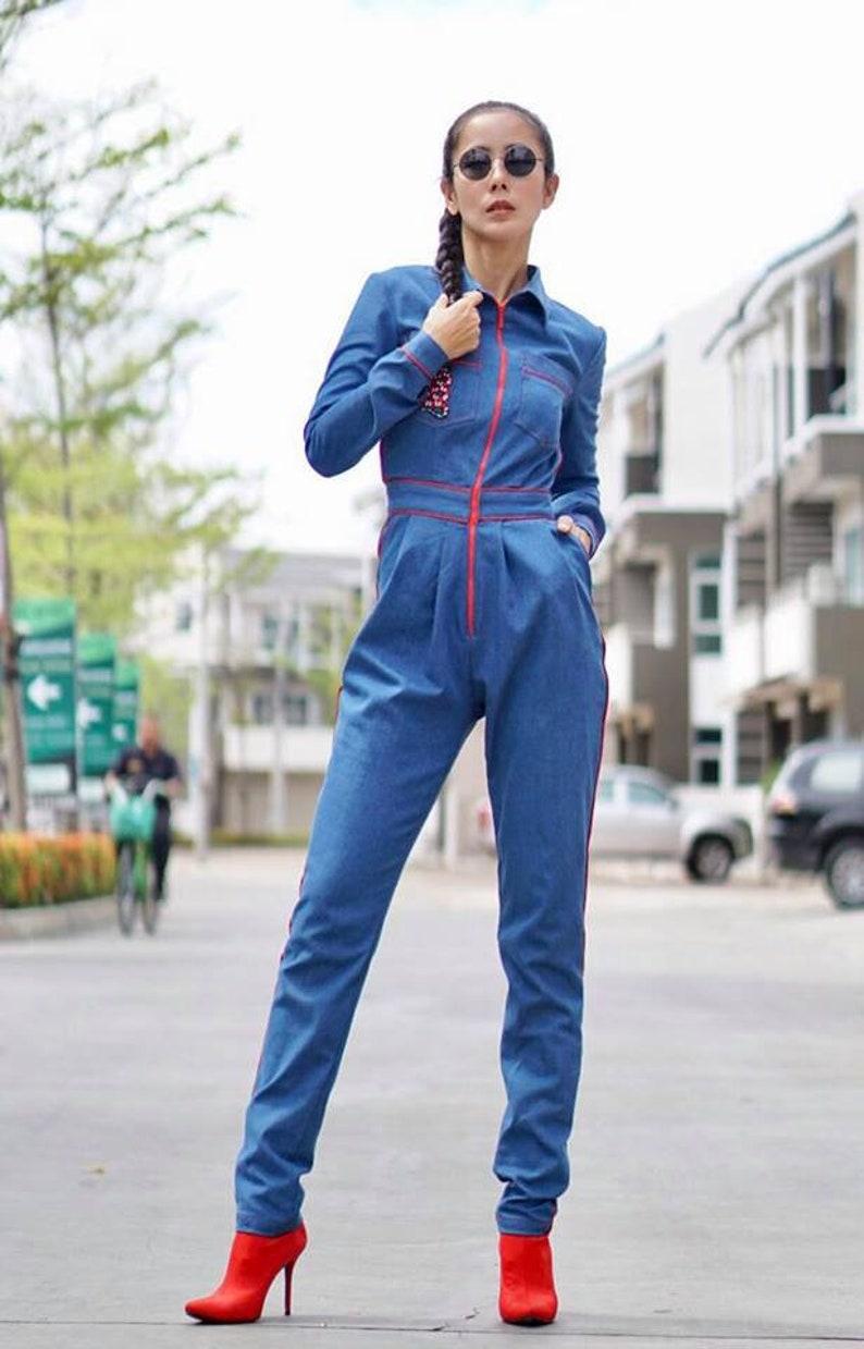 a6211903831 Women s Long Sleeve Denim Jean Jumpsuit overalls Bodysuit