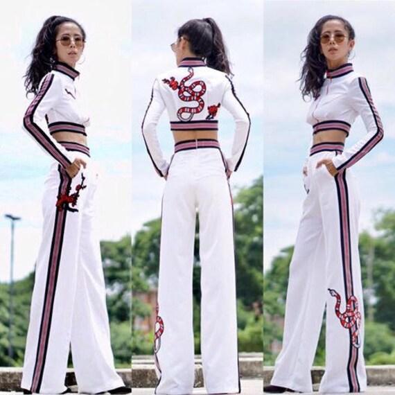7fe67a3479f Women s White Long Sleeve   High Waist Wide Leg Pants Sport