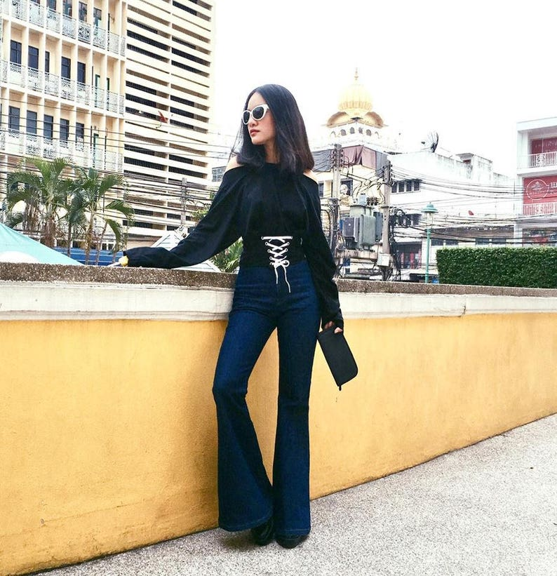 c848d549d7e0d Women s High Waisted Flared Bell Bottoms Jeans Vintage 70s