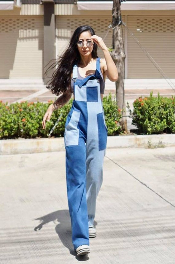 Womens Summer Overall Jumpsuit 2 Color Jeans Wide Leg