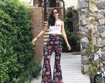 Women's Dark Jeans Denim High Waisted with Floral Print-Floral/Bell Bottoms/Flare Pants/Vintage 70s style All sizes.
