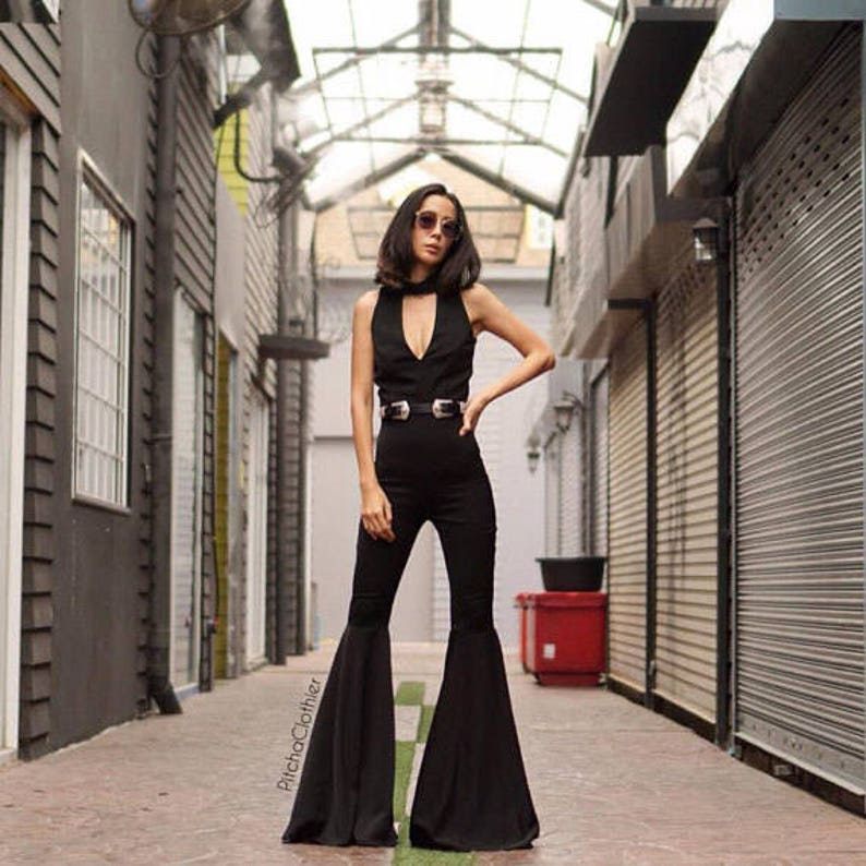 70s Clothes | Hippie Clothes & Outfits Womens Luxurious Black Jumpsuit Deep V- neck High waist super flared bell bottom vintage 70s style/Funky/Disco Jumpsuit. $139.00 AT vintagedancer.com