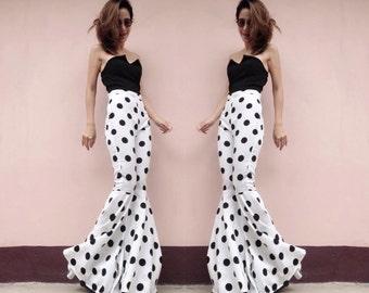 Women's White&Black Polka Dot High waist flared bell bottoms pants /Disco,Funky Party Pants/vintage 70s RocknRoll fashion.