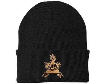 ea412e6bf1f Embroidered Eye of Horus Beanie Egyptian All Seeing Eye Hat