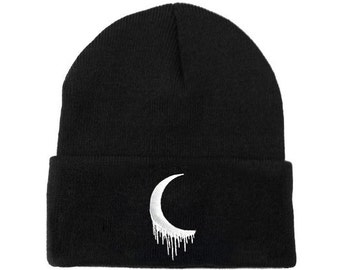 d2ee509081c Embroidered Crescent Moon Beanie