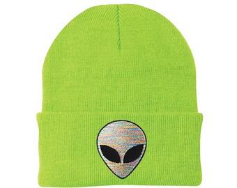 55dba4a4eeb Embroidered Neon Rainbow Tie-Dye NASA Space Alien Planet Beanie Hat