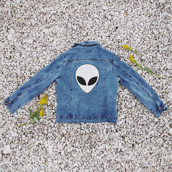 Alien Embroidered Jean Jacket Tumblr Nasa Space Galaxy Edgy Etsy