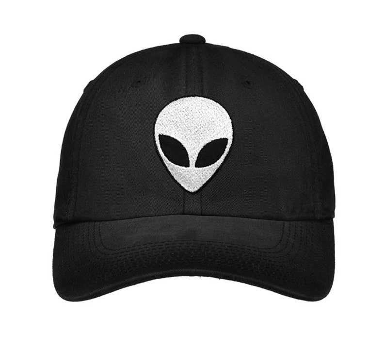 Alien Hat Embroidered Faded baseball cap Edgy Goth Nasa  d0342bc3241