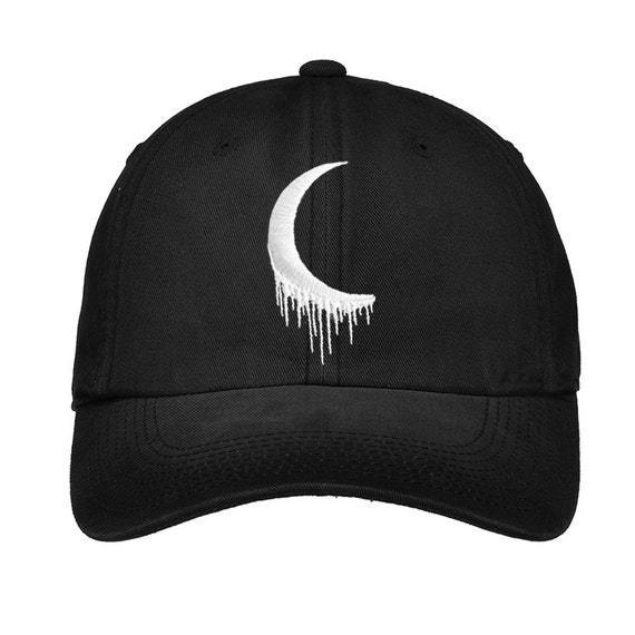 d98f180bef7717 Embroidered Edgy Goth Tumblr Crescent Moon Hat | Etsy