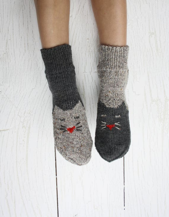 Socken stricken Socken Katze Tier Socken gestrickte Katze | Etsy