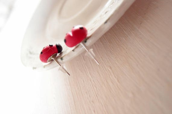 Vasca Da Bagno Ladybird Dimensioni : Lobe earrings with ladybird in fimo etsy