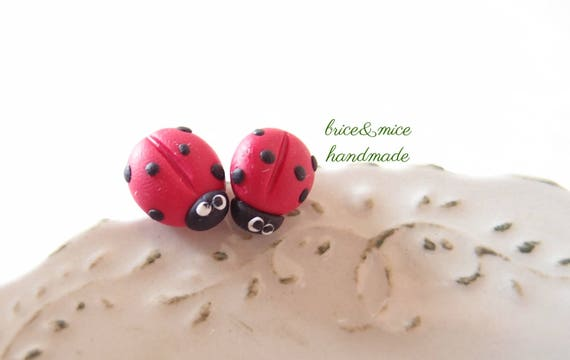 Vasca Da Bagno Ladybird Dimensioni : Lobe earrings with ladybird in fimo etsy