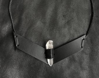 SIGIL Large Quartz Crystal & Latigo Leather Necklace