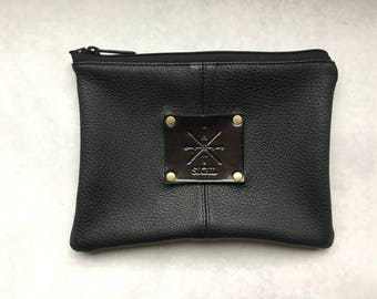 Deer Hide Leather Pouch:  All Black