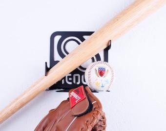 BASEBALL BAT RACK.Black. Baseball rack,Baseball holder,Baseball storage, Baseball bracket,Baseball perch,Baseball hook,Baseball display