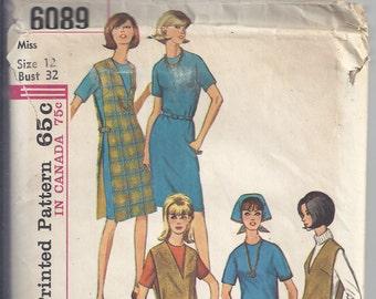 Vintage 1965 Simplicity #6089 Sewing Pattern Misses' Jumper or Top, Dress or Blouse, Skirt and Slacks  Bust 32 UNCUT