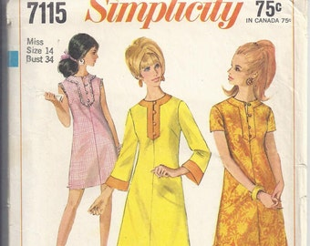 Vintage Pattern Simplicity 7115 Misses Collarless A-Line  Dress, from 1967.  Bust 34